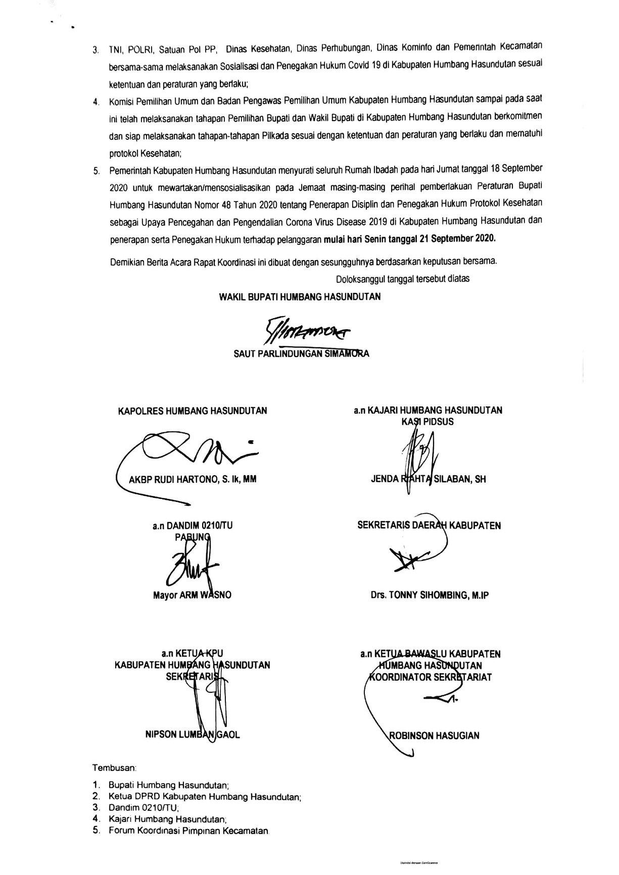 Rapat Koordinasi Penegakan Hukum Protokol Kesehatan Dalam Pencegahan dan Pengendalian Covid-19 Kab. Humbang Hasundutan