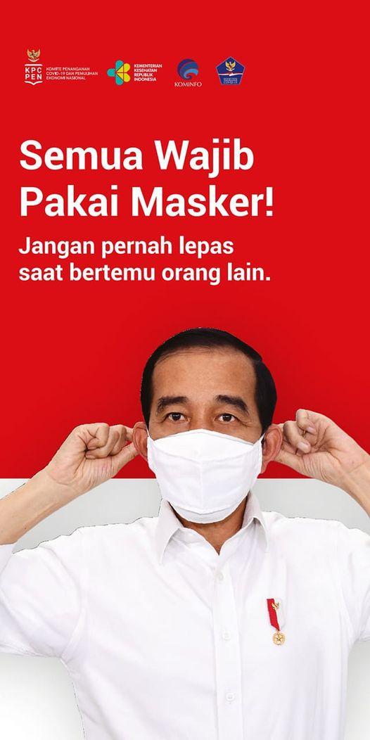 Instruksi Presiden RI : Semua Wajib Pakai Masker
