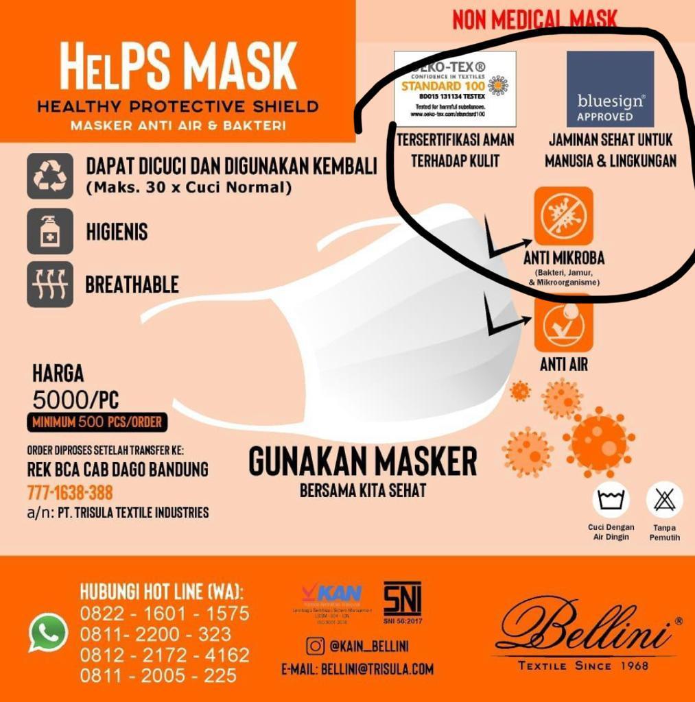 Klarifikasi Pengadaan Masker Helpsmask (Healthy Protectiver Shield) yang berasal dari PT. Trisula Textile Industries Tbk