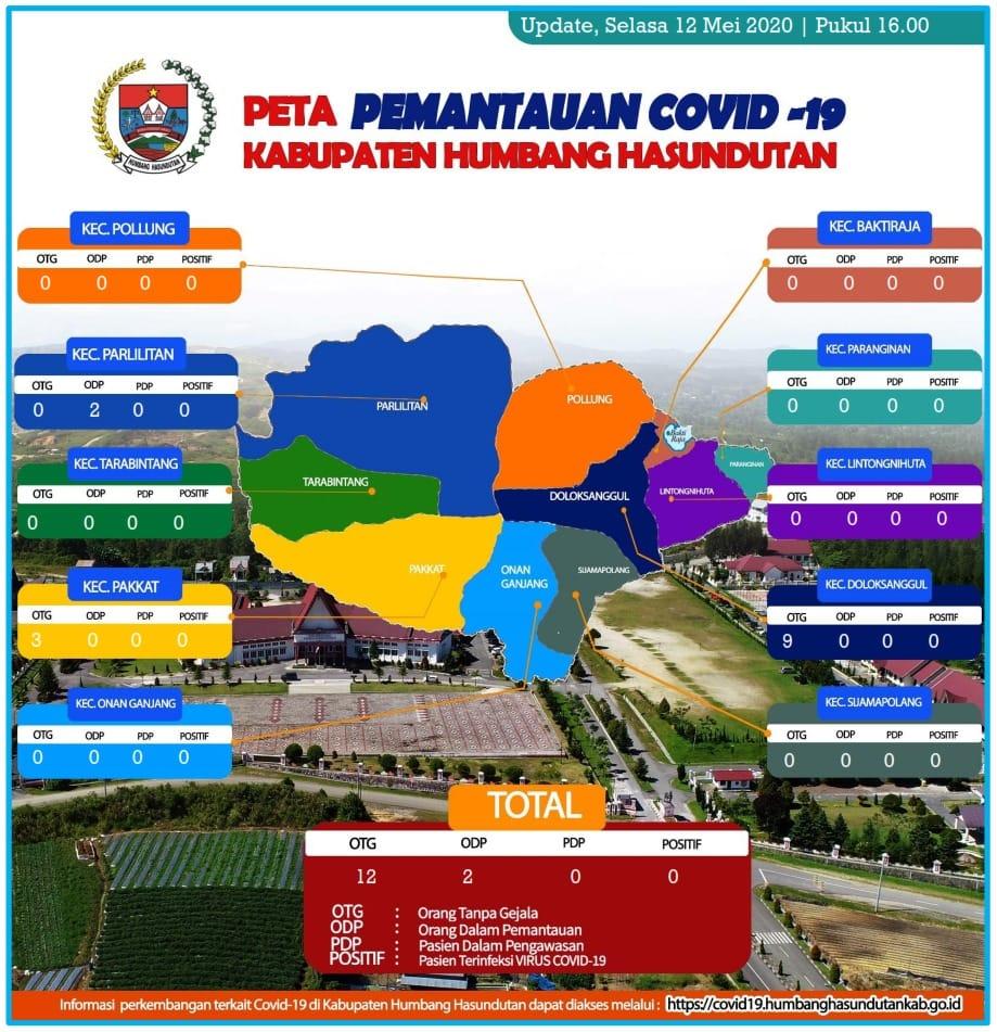 Peta Pemantauan Covid 19 Pemerintah Kabupaten Humbang Hasundutan tanggal 12 Mei 2020 s/d pukul 16.00 WIB